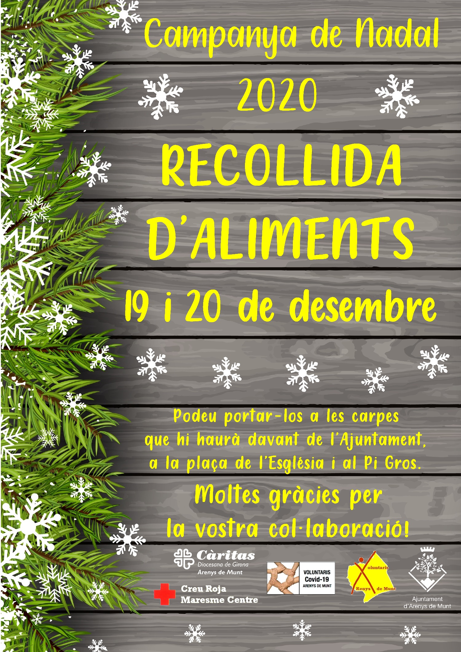 Cartell Recollida d'aliments Nadal 2020